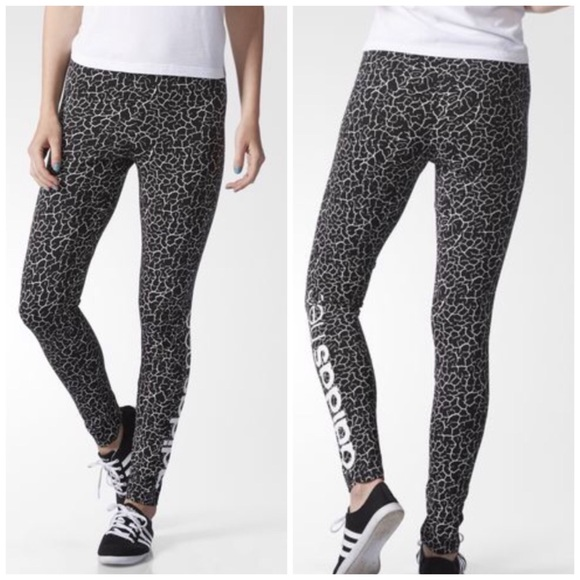 3a4c5417543 adidas Pants | Neo Cracked Black White Graphic Leggings M | Poshmark